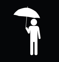 Man with umbrella icon vector