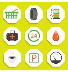 Gas repair station with store icons vector