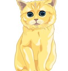 Cute fluffy british kitten vector
