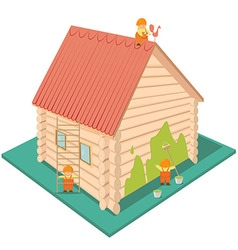 Wooden house with a red roof vector