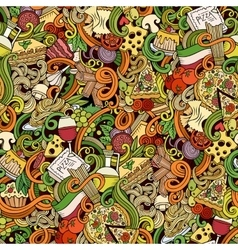 Cartoon doodles of italian cuisine seamless vector image