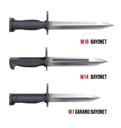 Bayonet knives for rifles vector