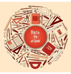 Back to school title texts with items in a circle vector