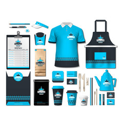 Business fastfood corporate identity items set vector