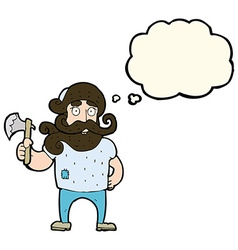 Cartoon lumberjack with axe with thought bubble vector