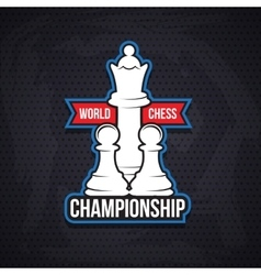 Chess cup logo or emblem template vector image