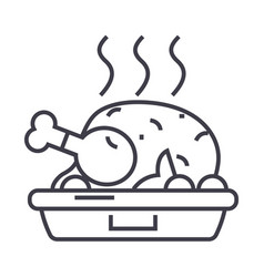 chicken dishgrilled roast line icon sign vector image