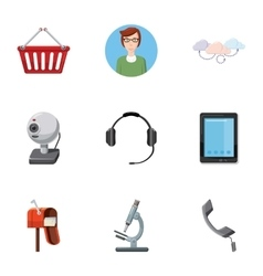 Consultation icons set cartoon style vector