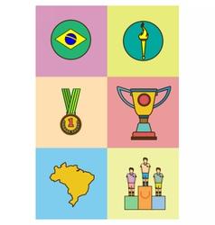 Digital brasil sport icons set vector image vector image