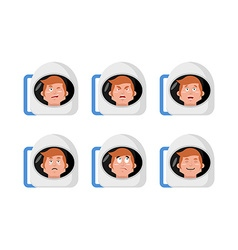 Emotions astronaut Set expressions avatar spaceman vector image vector image