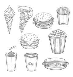 fast food sandwiches drink and dessert sketch vector image