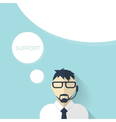 Flat support background with male icon Service vector image