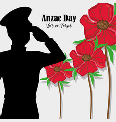 Flowers with soldier army to anzac day vector