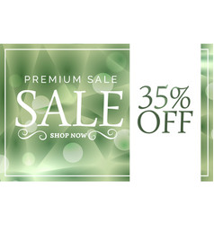 Green premium sale banner or voucher design vector