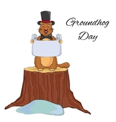 Groundhog day cartoon design cute groundhog in a vector
