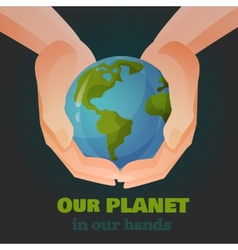 Hands holding the earth vector