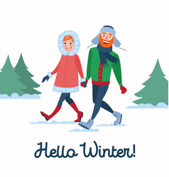 Happy couple on winter holidays man and woman vector