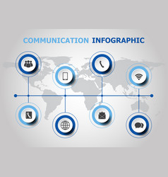 infographic design with communication icons vector image