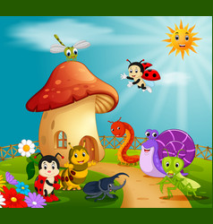 Many insect and a mushroom house in forest vector