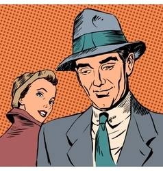 Meeting woman glanced man style art pop retro vector image vector image