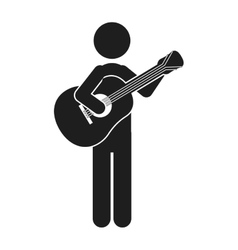 monochrome silhouette of man with guitar vector image