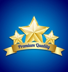 Three golden stars symbol vector image