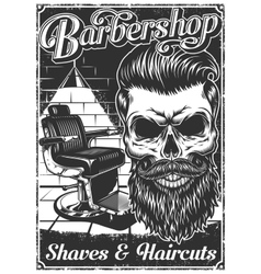 Vintage barbershop poster with barber chair and vector image vector image