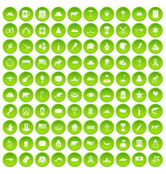 100 north america icons set green circle vector