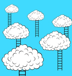 Clouds with stairs vector