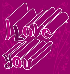 I love you with flowers 2 vector