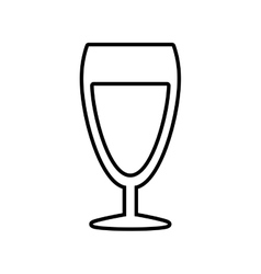 Glass cup champagne drink celebration outline vector