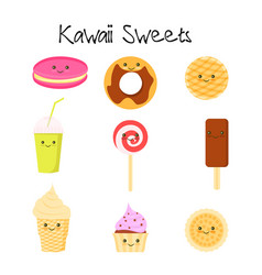 Collection of lovely baby sweet and dessert vector