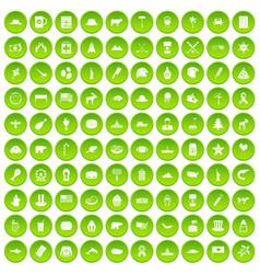 100 north america icons set green circle vector