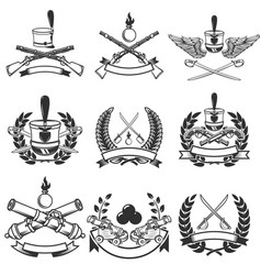 Set of ancient weapon emblems muskets sabers vector