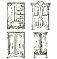 Set of hand drawn wardrobes interior vector