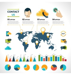 Contact us infographics set vector
