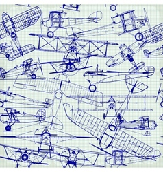 Retro seamless pattern  old airplanes drawing vector