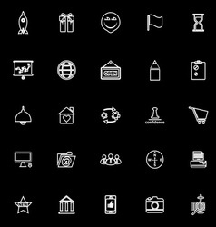 Business start up line icons on black background vector