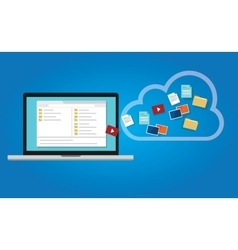backup data to the cloud from computer laptop vector image