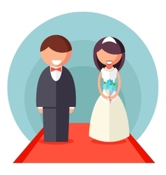 Bride and groom marriage icon wedding symbol flat vector