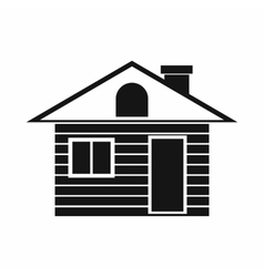 Wooden log house icon simple style vector