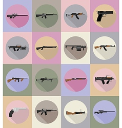 Weapon flat icons 20 vector