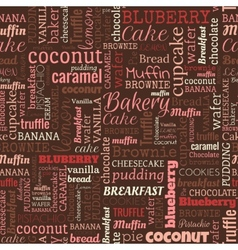 Bakery words tags seamless pattern vector