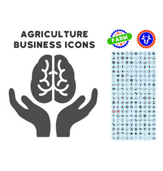 Brain care hands icon with agriculture set vector