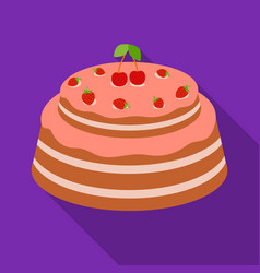 Cake with cherry icon in flate style isolated on vector