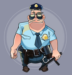 Cartoon formidable big man in a police uniform vector