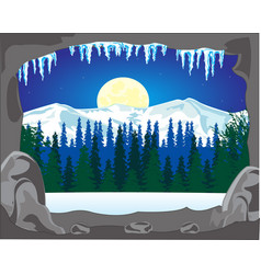 cave in wood vector image