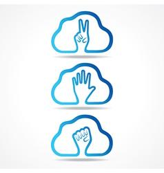 creative victorhelp and unity hand icon design vector image