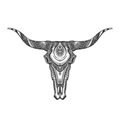 Decorative Indian bull skull Hand drawn vector image
