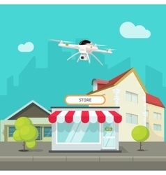 Drone camera flying above city buildings vector